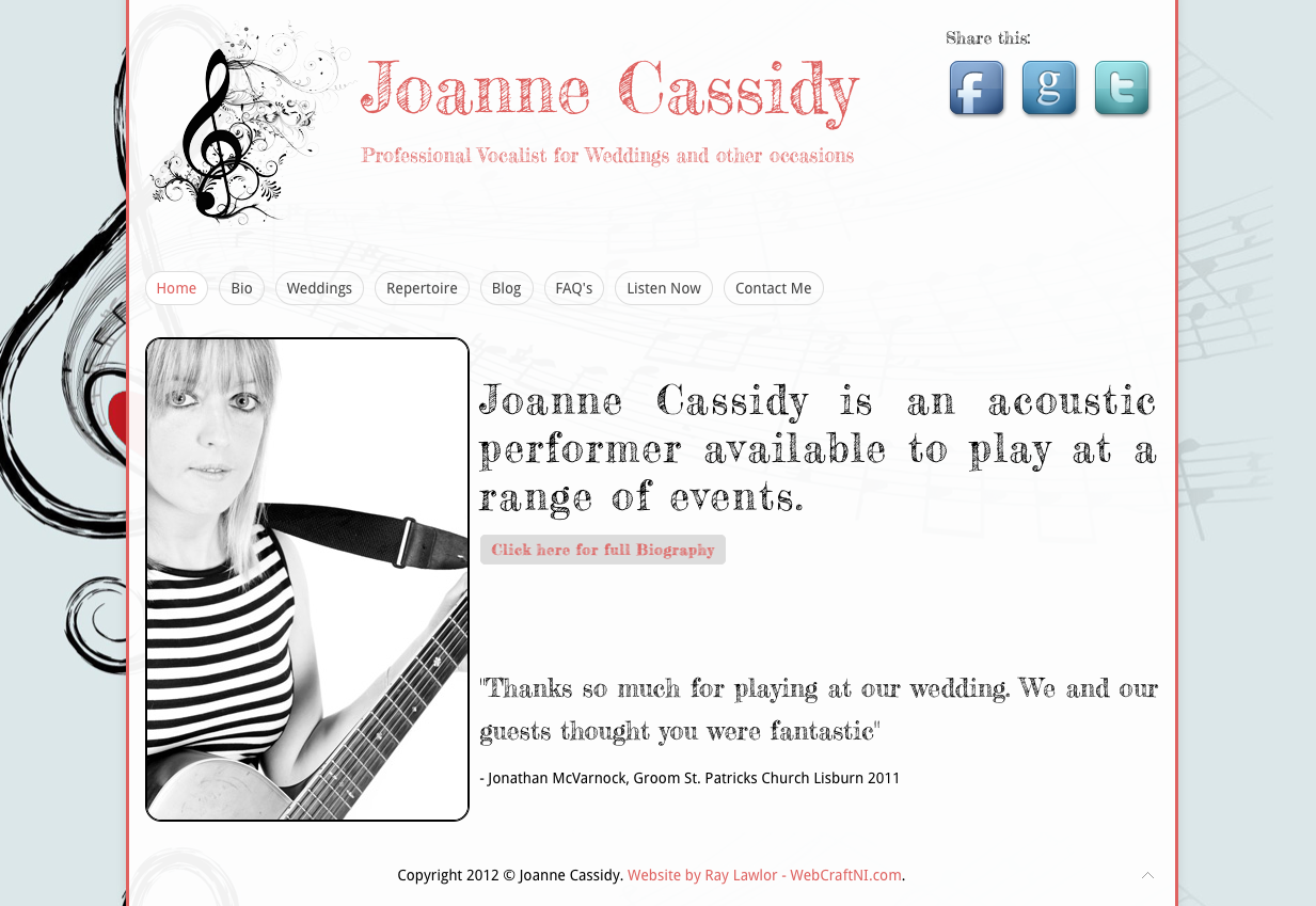 'Joanne cassidy music' goes live!